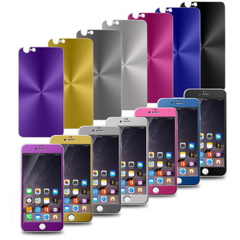 GL07全彩鏡面電鍍 iphone6 plus(5.5吋)鋼化玻璃保護貼(前後貼雙片組)