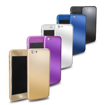 GM01亮彩款 iphone6 plus(5.5吋) 三合一保護套件組(金屬邊框+高硬度電鍍鋼膜前後貼)