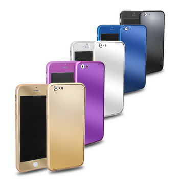 GM02亮彩款 iphone6(4.7吋)  三合一保護套件組(金屬邊框+高硬度電鍍鋼膜前後貼)