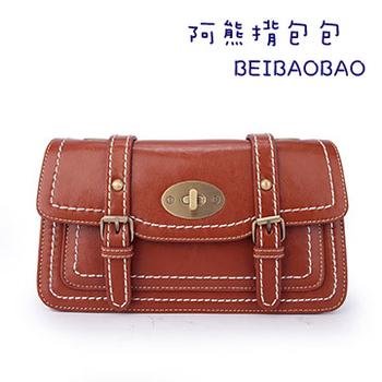 【BEIBAOBAO】韓版貴族學院風真皮側揹包(咖啡紅)