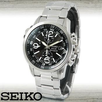 【SEIKO 精工】太陽能電力-時尚運動休閒腕錶(SSC075P1)