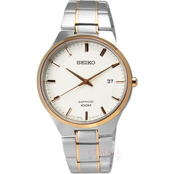 SEIKO / 7N42-0GB0K.SEGH34P1 風靡全場藍寶石水晶日期鍍玫瑰金不鏽鋼腕錶 大 白x玫瑰金 39mm