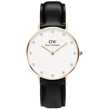 DW Daniel Wellington Classy Sheffield 優雅完美晶鑽皮革腕錶 34mm 白x黑 / 0951DW