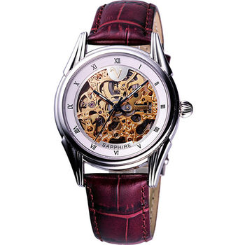 Valentino靜謐時分自動上鍊鏤空皮帶腕錶/金(LM9001S白框紅帶)