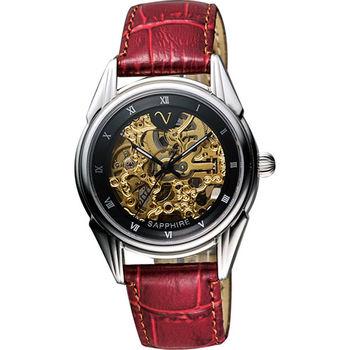 Valentino靜謐時分自動上鍊鏤空皮帶腕錶/金+黑(LM9001S黑框紅帶)