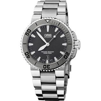Oris Aquis 時間之海專業潛水機械腕錶-鐵灰  0173376534153-0782601PEB