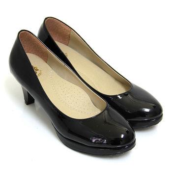 【Pretty】百搭OL必備款簡約素面高跟鞋-黑亮