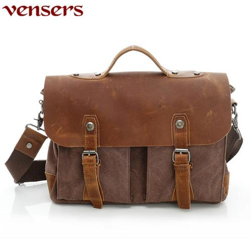 Vensers韓潮頂級棉麻包系列斜肩揹包咖啡C102301
