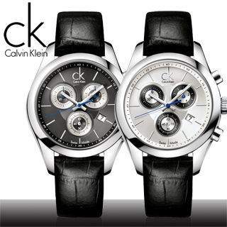 【瑞士 CK手錶 Calvin Klein】三眼計時皮革錶帶女錶(K0K28126_K0K28161)