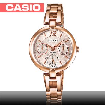 【CASIO 卡西歐】日系玫瑰金系列-小徑面造型女錶(LTP-E401PG)