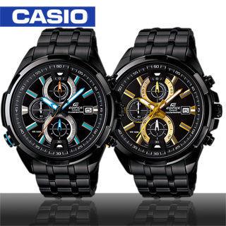 【CASIO 卡西歐 EDIFICE】三眼/黑鋼/極速賽車運動錶(EFR-536BK)