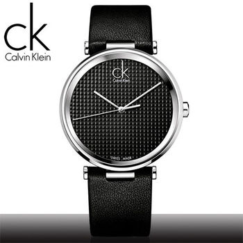 【瑞士 CK手錶 Calvin Klein】時尚大錶徑菱格紋中性錶_黑面(K1S21102)