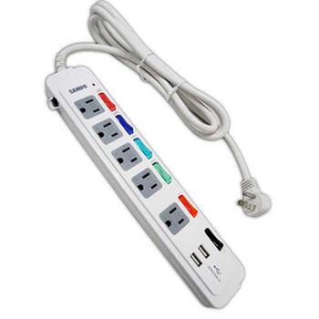 SAMPO 聲寶3孔5座6切2埠USB延長線1.8M(EL-U65R6U2)