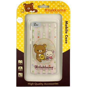 Rilakkuma 拉拉熊/懶懶熊 Xiaomi 紅米2 彩繪透明保護軟套-花草優雅熊