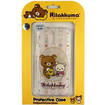 Rilakkuma 拉拉熊/懶懶熊 HTC One E8 彩繪透明保護軟套-花草優雅熊