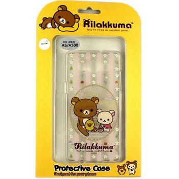 Rilakkuma 拉拉熊/懶懶熊 Samsung Galaxy A5 彩繪透明保護軟套-花草優雅熊