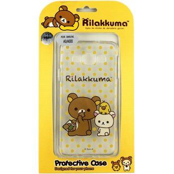 Rilakkuma 拉拉熊/懶懶熊 Samsung Galaxy A3 彩繪透明保護軟套-點點好朋友