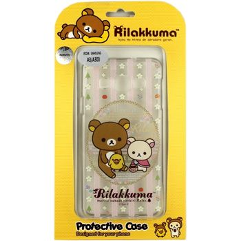 Rilakkuma 拉拉熊/懶懶熊 Samsung Galaxy A3 彩繪透明保護軟套-花草優雅熊