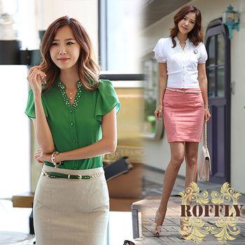 【ROFFLY蘿芙莉】預購-韓版時尚顯瘦修身釘珠雪紡V領荷葉袖襯衫 (IS3306)
