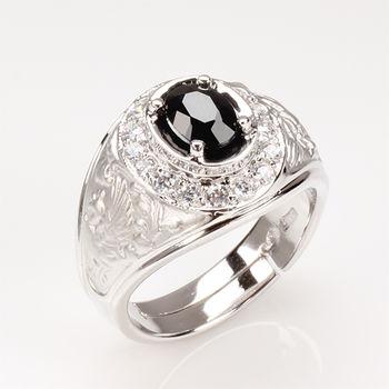 【寶石方塊】龍飛鳳舞天然1克拉黑藍寶石戒-活圍設計