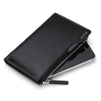 PUSH!男士短夾可放手機的插卡拉鍊式皮夾頭層牛皮零錢包精品生日禮物 PUSH01