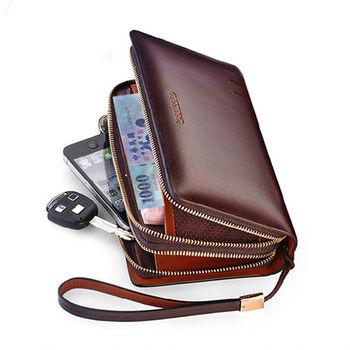 PUSH! 男士長夾頂級牛皮手拿包手拎包商務包隨身包精品生日禮物雙防盜手帶款3310