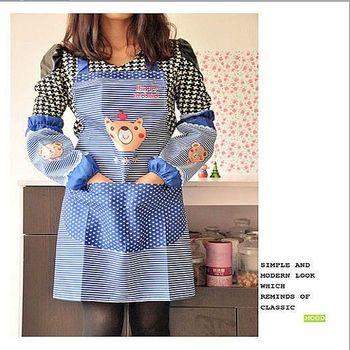 可愛小熊長款袖套+防水防污圍裙套組