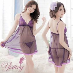 草莓牛奶紫花情迷!性感東森購物保險蕾絲薄紗透視睡衣