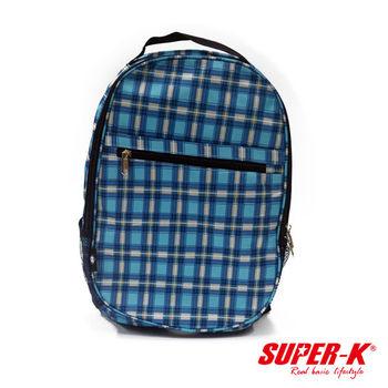 《SUPER-K》手提後背兩用包-藍格紋SHB24515☆加厚透氣背墊
