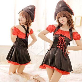 草莓牛奶女海盜服裝 角色扮演萬聖節聖誕女巫惡魔COS