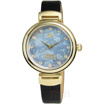 Vivienne Westwood / VV128GDBK / Hampton 浪漫圓舞曲真皮腕錶 黑X金 32mm