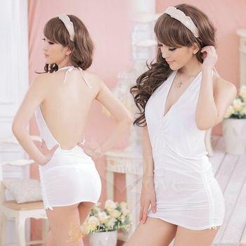 【草莓牛奶】搶眼之星 綁脖式連體 夜店服洋裝(白)
