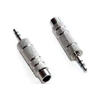【FU】6.3mm(母)轉3.5mm(公) 鍍鎳鐵頭立體聲麥克風轉接頭-1入(SR0033)