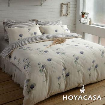 【HOYACASA】花之舞 天絲舖棉加大四件式兩用被床包組