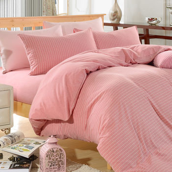 【HOYACASA】春漾粉彩特大四件式純棉針織被套床包組