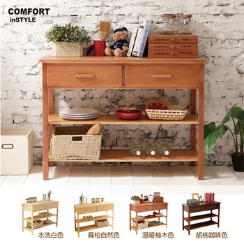 CiS [自然行] 實木家具 多機能收納櫃/兩用櫃W110cm(溫暖柚木色)