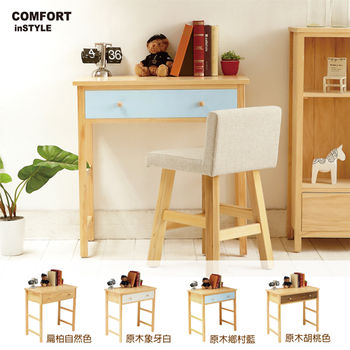 CiS [自然行] 實木家具 多機能書桌/兩用桌W80cm(原木鄉村藍色)