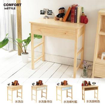 CiS [自然行] 實木家具 多機能書桌/兩用桌W80cm(水洗白色)