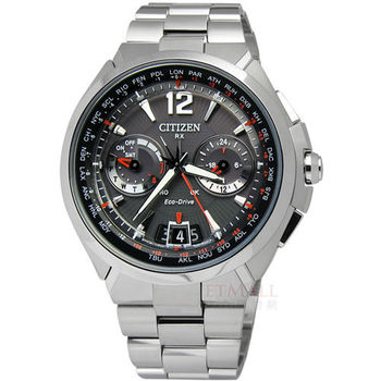 CITIZEN / CC1091-50E / Eco-Drive 衛星對時光動能藍寶石玻璃鏡面腕錶 橘色 48mm