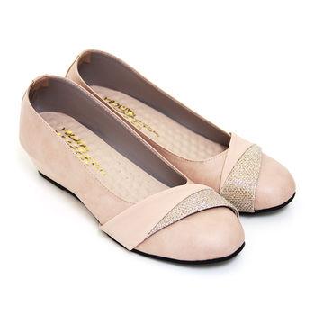 【Pretty】優雅簡約金蔥拼接楔型低跟包鞋-粉紅色