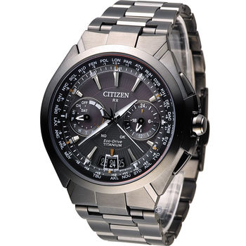 CITIZEN Satellite Wave【鈦】金屬衛星對時腕錶 CC1085-52E 黑