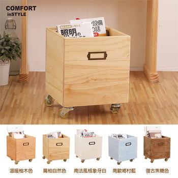 CiS [自然行] 實木家具 鄉村雜貨收納箱+輪子(扁柏自然色)