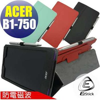 【EZstick】ACER Iconia One 7 B1-750 專用防電磁波皮套 (紅色背夾旋轉款式)+鏡面防汙螢幕貼 組合(贈機身貼)
