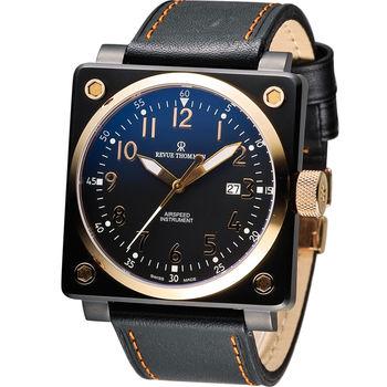 Revue Thommen 梭曼超級領航者飛行機械錶 16576.2587 黑x玫瑰金色