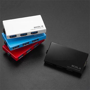ECOLA 卡片式超薄高速4埠 USB3.0 HUB充電集線器(BS-USB-HUB303系列)