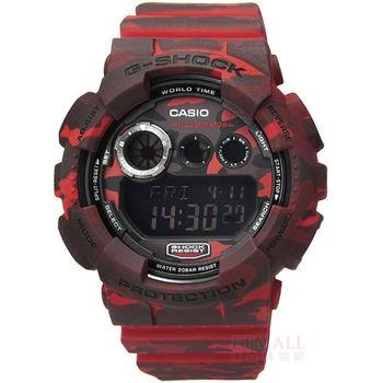 G-SHOCK CASIO / GD-120CM-4 卡西歐軍事迷彩戰鬥魂電子腕錶 亮眼紅 50mm