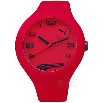 PUMA / PU103211022 / 率性藝術立體感矽膠腕錶 紅x紫 47mm