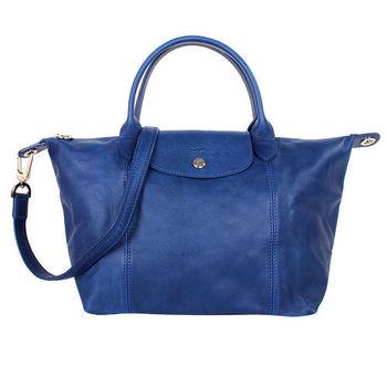 LONGCHAMP-小羊皮短把摺疊包(小/藍色/附背帶)