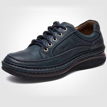(預購)【HaoxinG】D310541深藍色秋冬休閑男鞋系帶真皮商務休閑男士手工縫制真皮鞋