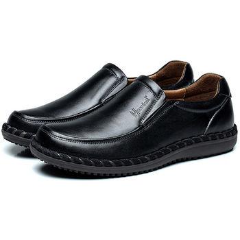 (預購)【HaoxinG】D363541黑色秋季商務正裝套腳皮鞋男士真皮單鞋手工縫制鞋